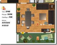 Vue partielle de la page Web représentant l'habitat (salon + terrasse). Les ampoules sont cliquables pour éteindre ou allumer les lampes. De plus l'interface affiche la consommation électrique, les capteurs météo et d'ouverture de la porte de la terrasse.