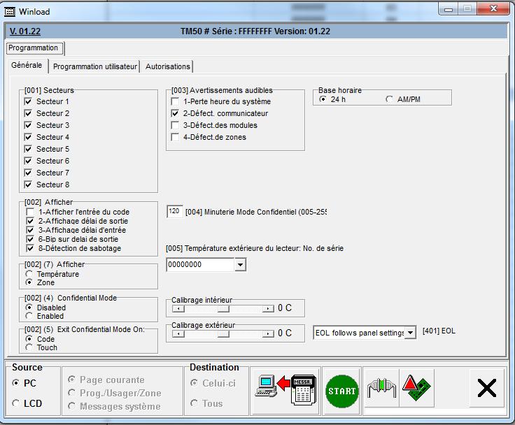 configuration du clavier k656 configuration du clavier tm50 configuration des detecteurs dm70