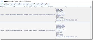 Lecture de la table avec Azure Storage Explorer