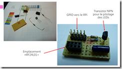 PCB pour l'installation du module RF et pilotage des LEDs