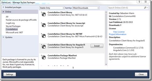 Installation du module Constellation pour AngularJS avec NuGet