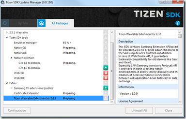 Installation des Extras - Update Manager - SDK Tizen 2.4 Rev1