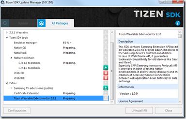 Installation des Extras - Update Manager - SDK Tizen 2.4 Rev1