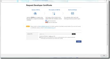 Création du certificat sur le portail Samsung