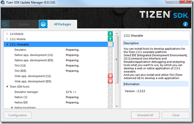Installation du framework Wearable 2.3.1 - Update Manager - SDK Tizen 2.4 Rev1