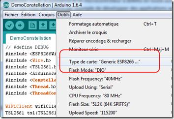 ESP8266 dans l'Arduino IDE