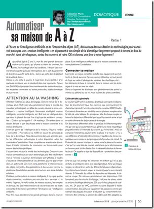 """Dossier """"Automatiser sa maison de A à Z"""" dans le magazine Programmez! n°220"""